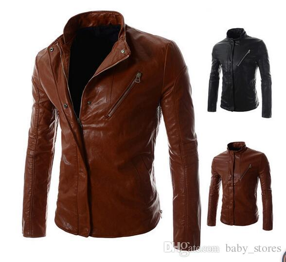 HOT 16 Spring New Styles Mens Leather Jackets Zippers Slim Jacket
