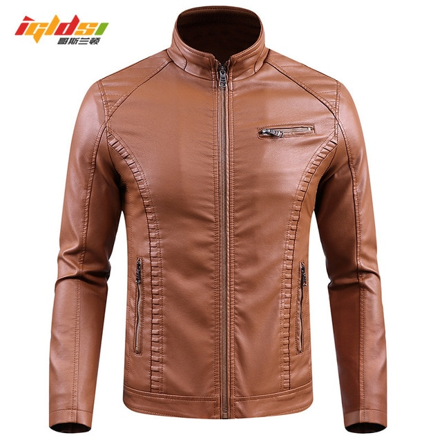 Men Winter Fleece leather Jacket Biker Male Punk Motorcycle Bomber