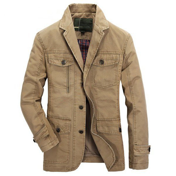 Plus Size Men's Outdoor Jacket Solid Color Casual Business Cotton