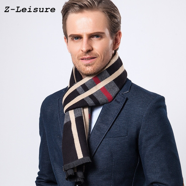 Fashion Design Casual Scarves Winter Men's Cashmere Scarf Luxury