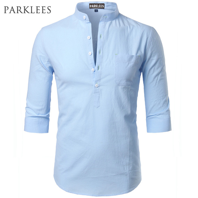 Fashion Cotton Linen Shirt Men Clothes Casual Slim Fit Mens Shirts