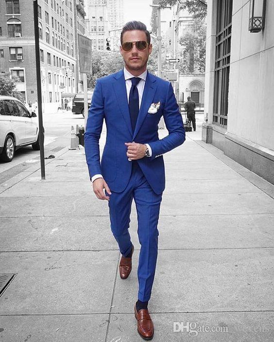 Classy Blue Wedding Tuxedos Slim Fit Suits For Men Business Jacket