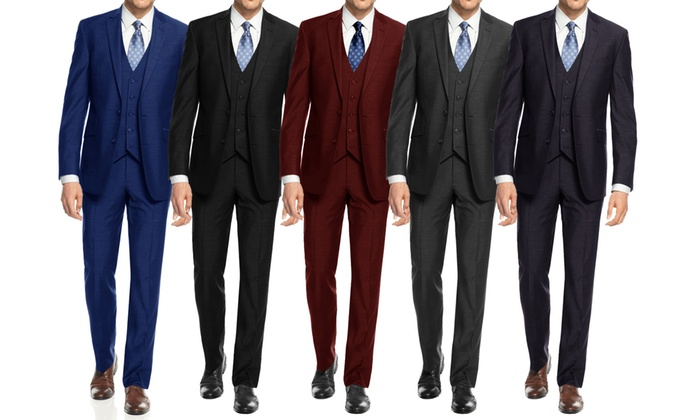 Up To 72% Off on Braveman Slim Fit Suit (3-Piece) | Groupon Goods