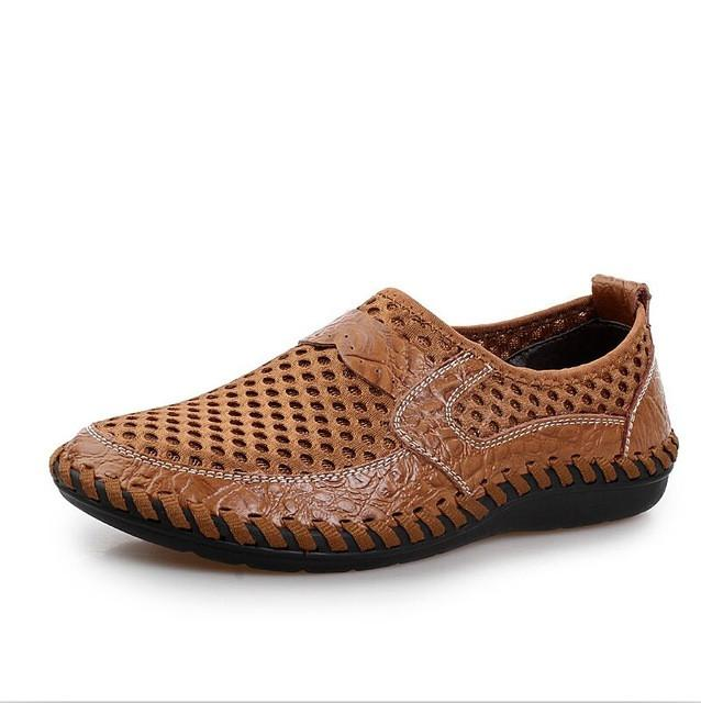 2017 Summer Breathable Mesh Shoes Mens Casual Shoes Genuine Leather
