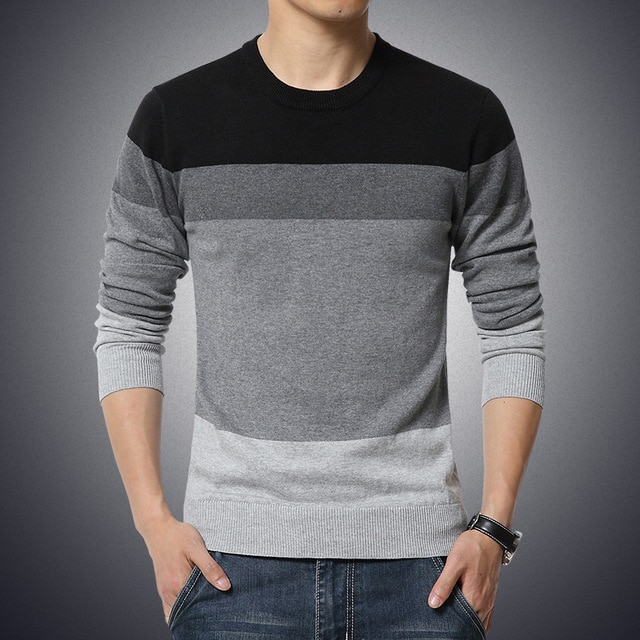 2019 Autumn Casual Men's Sweater O Neck Striped Slim Fit Knittwear