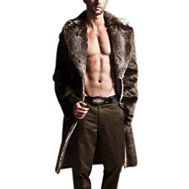 Amazon.com: Zerorun Faux Fur Coat Mens Winter Long Jacket Warm