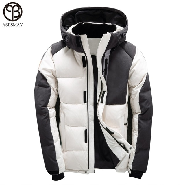 Asesmay Men Winter Jacket White Duck Down Parka High Quality Winter
