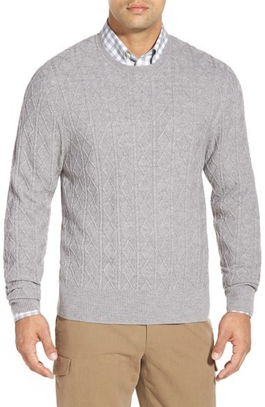 Brooks Brothers Aran Cable Knit Merino Wool Sweater, $148