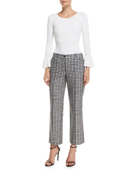 Michael Kors Collection Painterly Stripe Crepe Cady Cropped Trousers