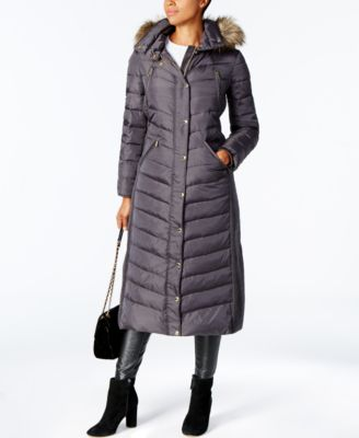 Michael Kors Faux-Fur-Trim Maxi Puffer Coat & Reviews - Coats