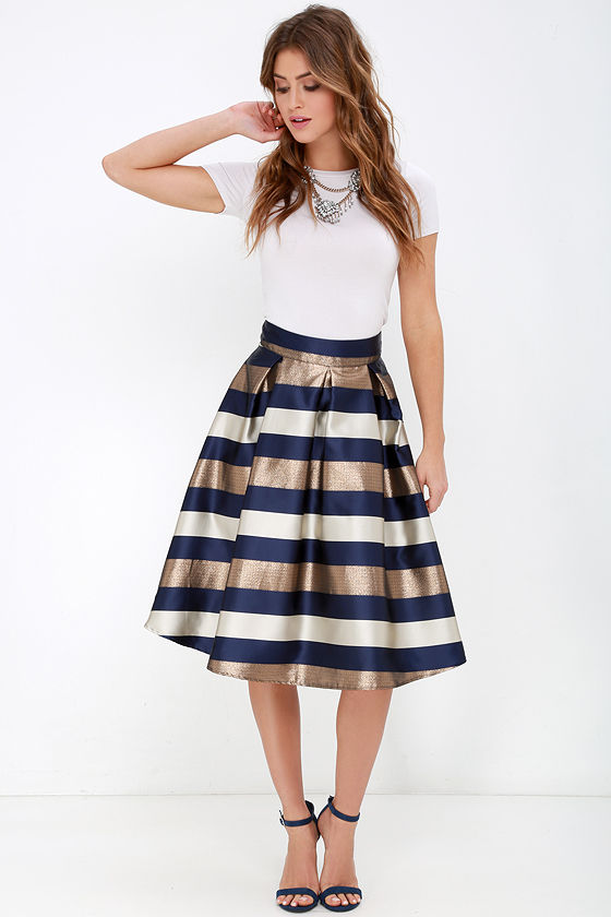 Striped Skirt - Midi Skirt - Navy Blue and Bronze Skirt - $42.00
