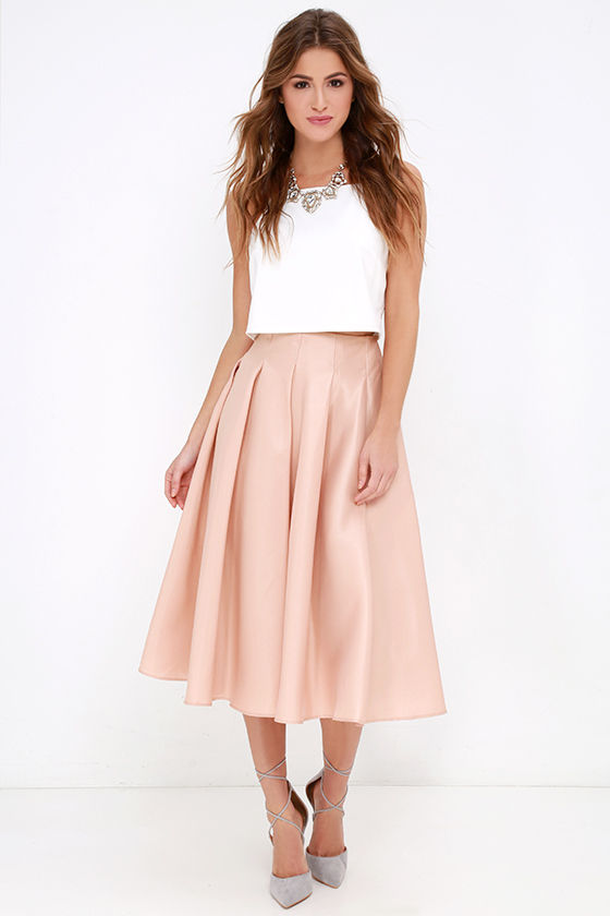 Blush Skirt - Midi Skirt - High-Waisted Skirt - $62.00