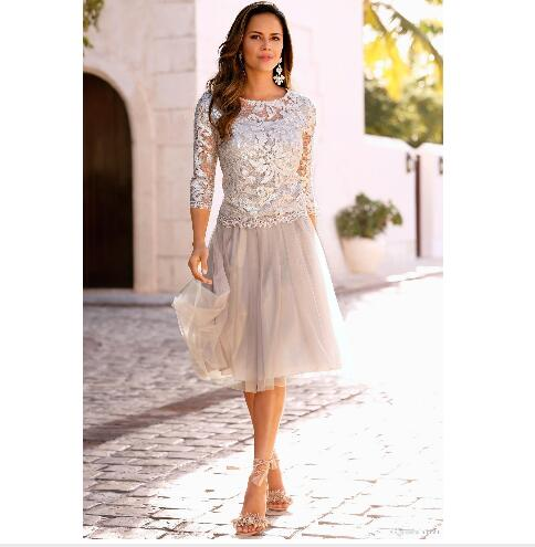 Newest Short Mother Of The Bride Dresses Lace Tulle Knee Length 3/4