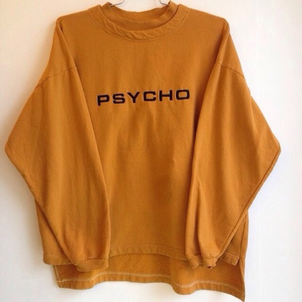 sweater, orange sweater, psycho, crewneck, jumper, long sleeves, 90s