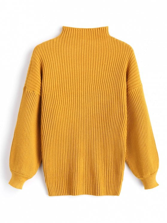 35% OFF] 2019 Pullover Lantern Sleeve High Neck Sweater In MUSTARD