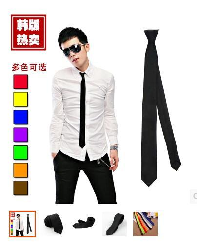 Han edition suit narrow black tie male Female leisure narrow ties