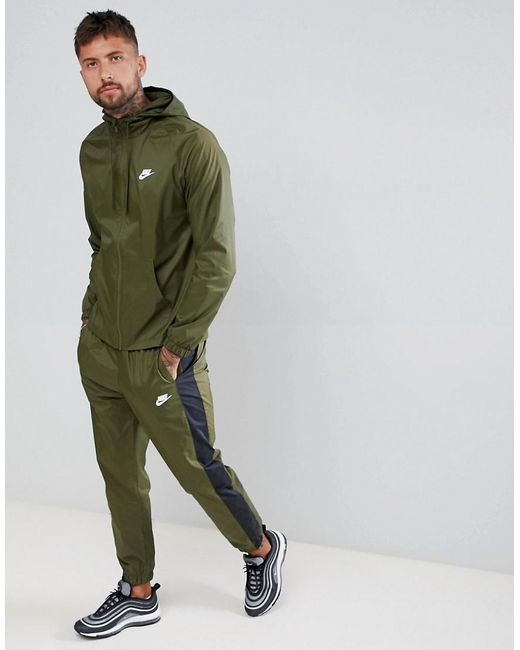 Nike Colour Block Tracksuit Set In Green 928119-395 in Green for Men