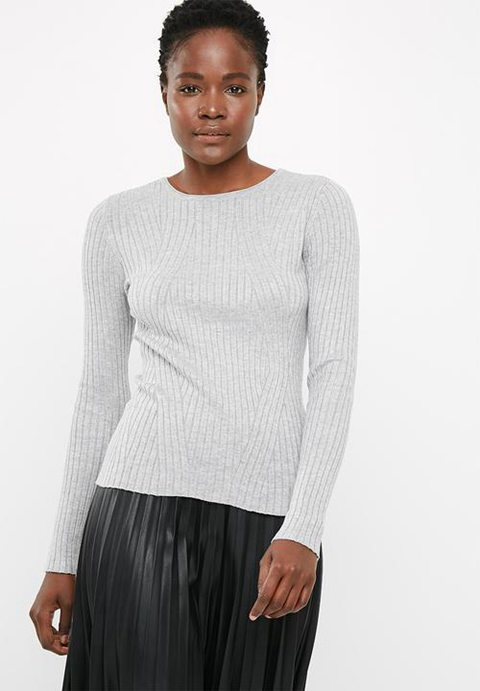 New Womens Pullovers | Only Natalia Ribbed Pullover In Grey 86817