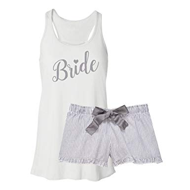 Classy Bride Bride Pajama Set - Silver at Amazon Women's Clothing store: