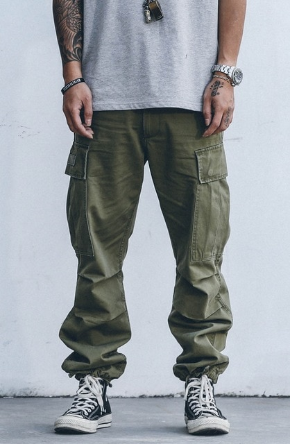 High quality men baggy cargo pants adjustable hem outdoor multi