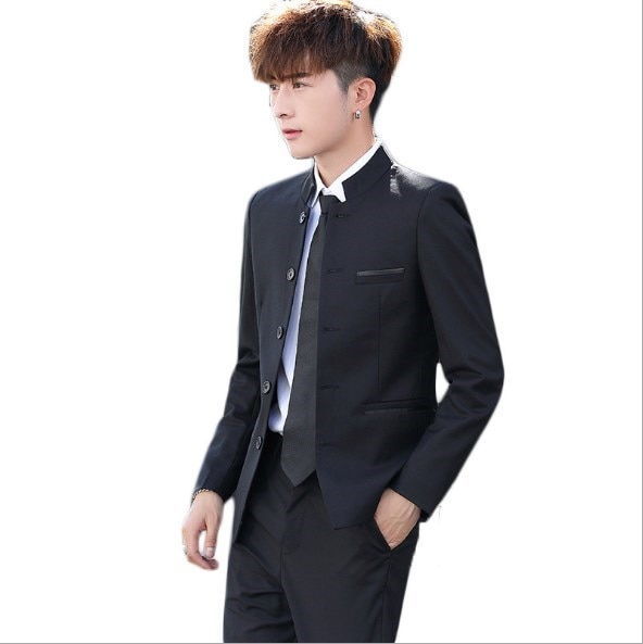 Mens Slim Fit Zhongshan Pant Suits Black Blue Red White Wedding