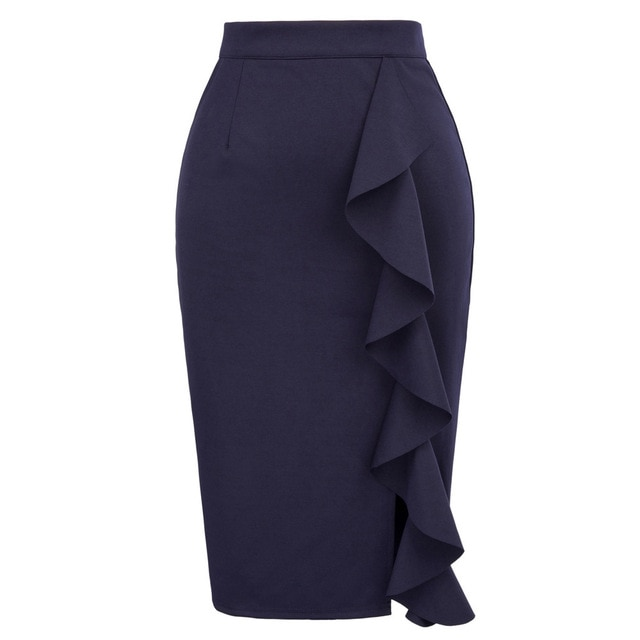 Pencil Skirts Womens 2018 New Sexy Ruffles Skirt Wear to Business