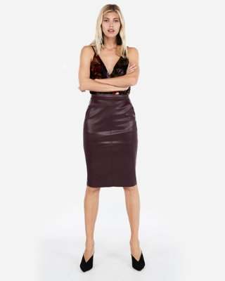 minus The) Leather Pocket Pencil Skirt | Express