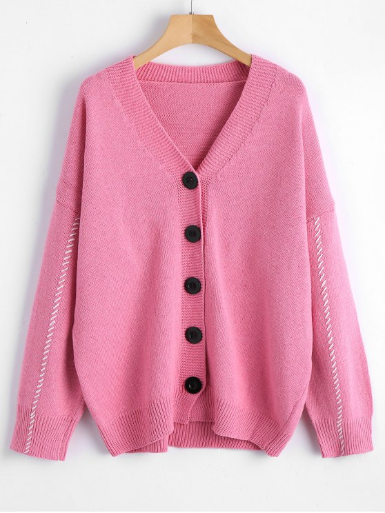 31% OFF] 2019 Contrast V Neck Button Up Cardigan In PINK ONE SIZE