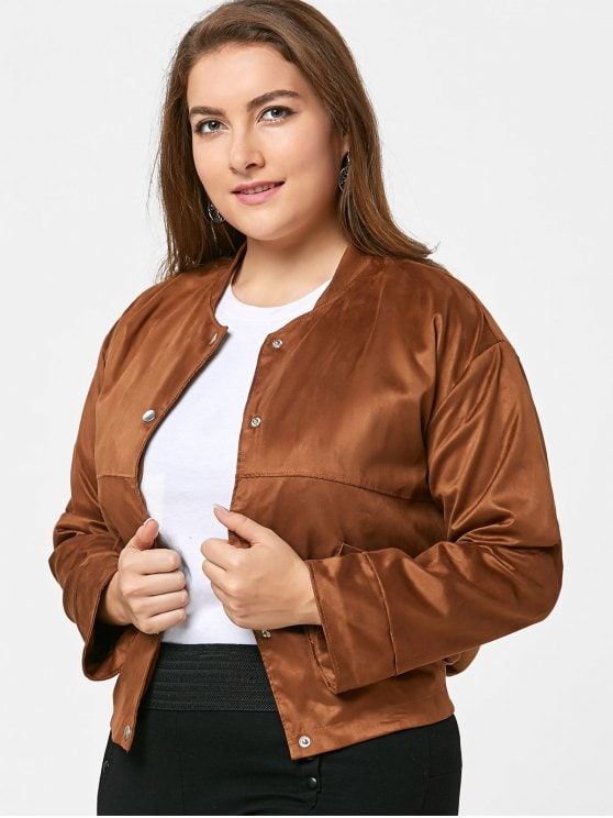 35% OFF] 2019 Plus Size Button Up Faux Suede Jacket In CAMEL 3XL | ZAFUL
