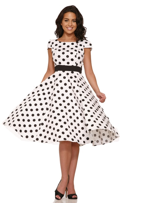 Dancing White with Black Polka Dots Dress - AndyLiz boutique