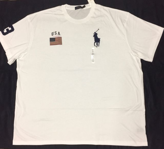 Polo Ralph Lauren Mens USA Flag Big Pony Crewneck T Shirt Custom Fit