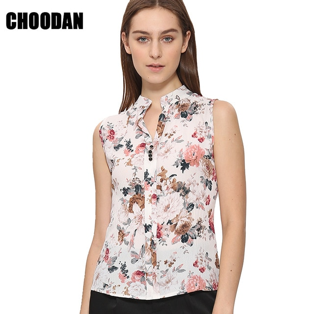 Sleeveless Blouse Shirt Women Floral Flower Printed Tops New Fashion