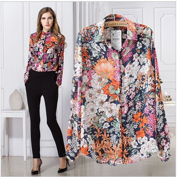 2015 Fashion Flower Printed Blouse Chiffon in Women's Blouses with