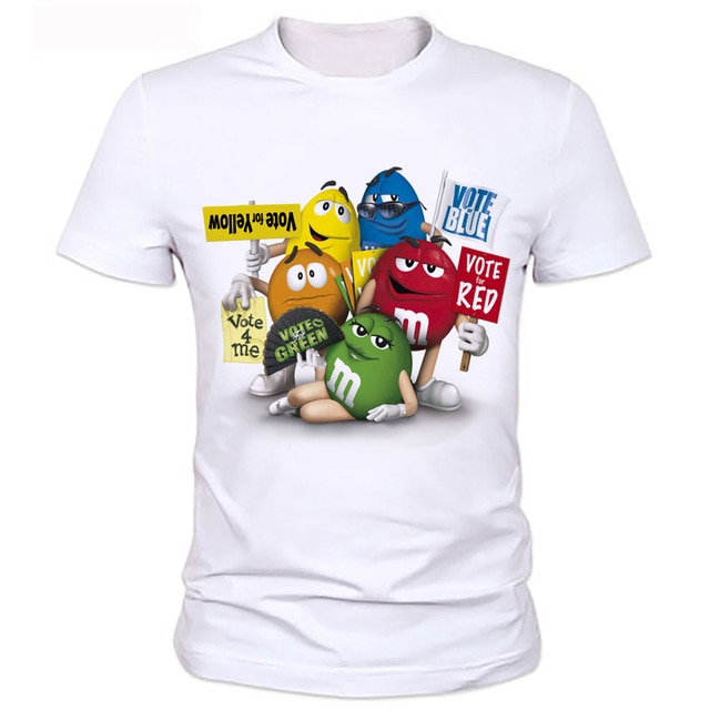 The man's printed t shirts New Cartoon Peanut chocolate m&m's Emoji