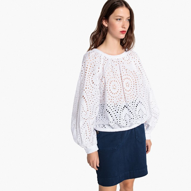 Openwork cotton blouse with puff sleeves La Redoute Collections | La