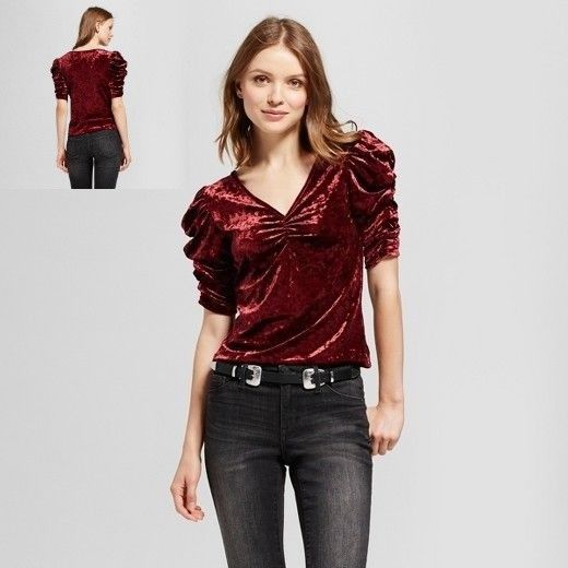 Mossimo Womens XS Velvet Blouse Red Port Solid Wine Velour Ruched