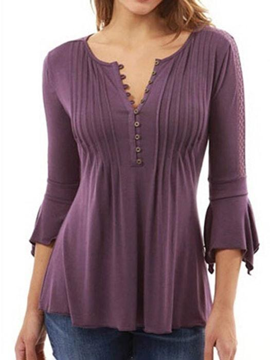 Deep V-neck Button Down Bell Sleeve Blouse u2013 WhatsMode