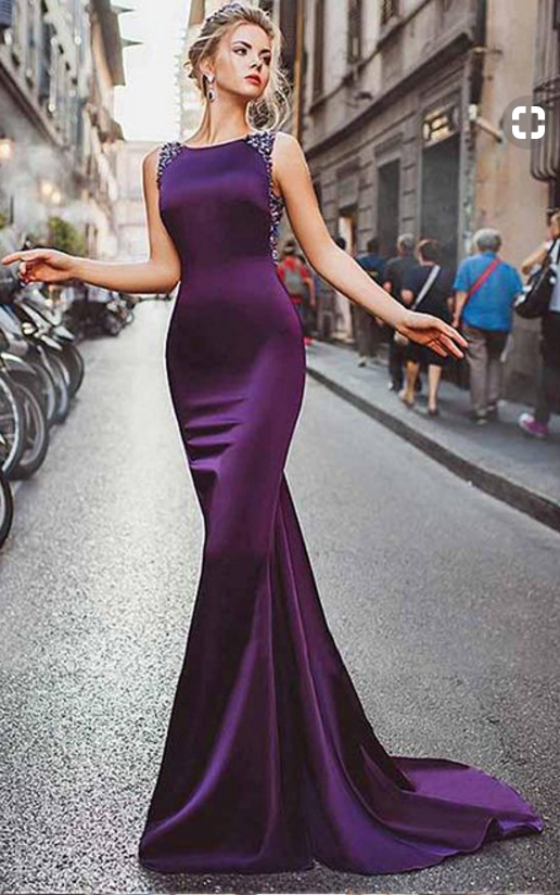 Satin Purple Mermaid Prom Dresses With Beading,Long Formal Evening