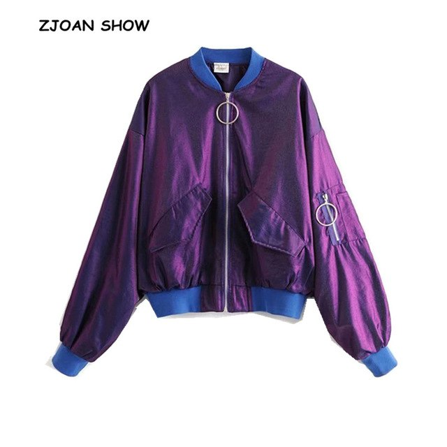 Retro Spliced Blue V neck Laser Purple Jacket Retro 2018 Women New