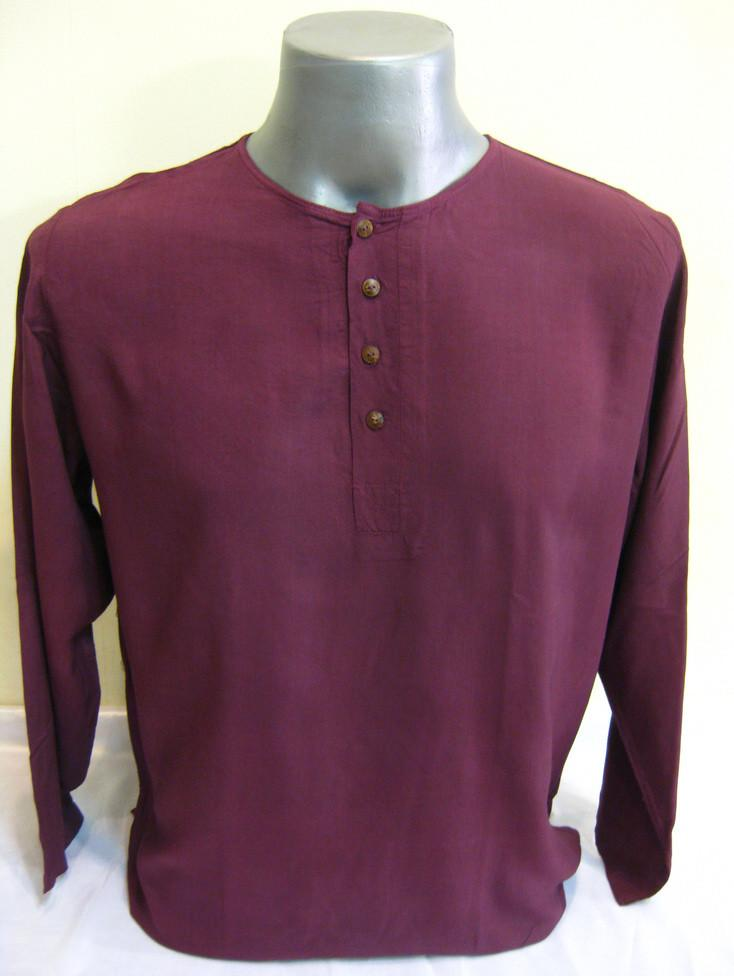 Mens Yoga Shirt No Collar with Coconut Buttons In Dark Purple | Sure