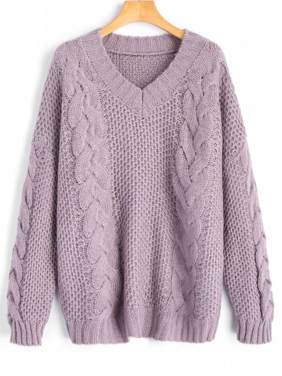 36% OFF] 2019 V Neck Pullover Cable Knit Sweater In LIGHT PURPLE ONE