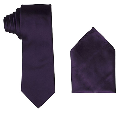 Solid Sateen Plum Purple Tie and Pocket Square