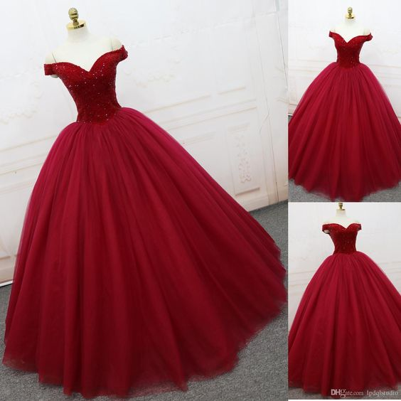 2018 new fashions Sparkling Prom Dresses Ball Gown Dark Red Evening