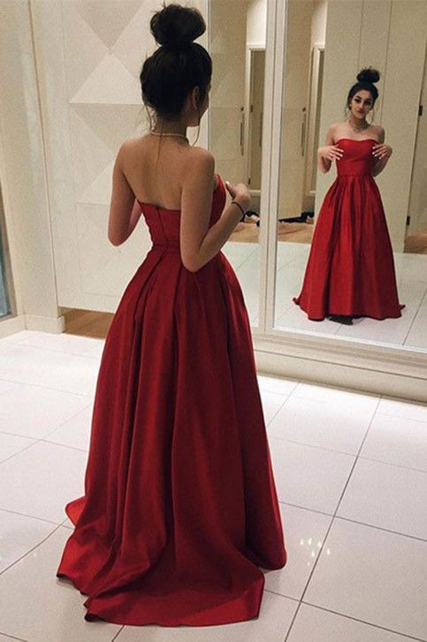 Red Long Prom Dresses, Elegant Red Satin Prom Dress, Ball Gown