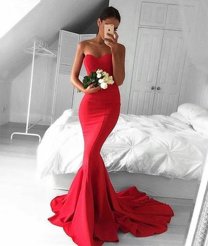 Glamorous Sweetheart Neck Mermaid Red Prom Dresses, Ball Gown, Red