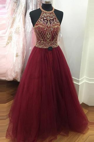 Prom Dresses,Ball Gown Evening Gowns,Wine Red Prom Dresses,Party