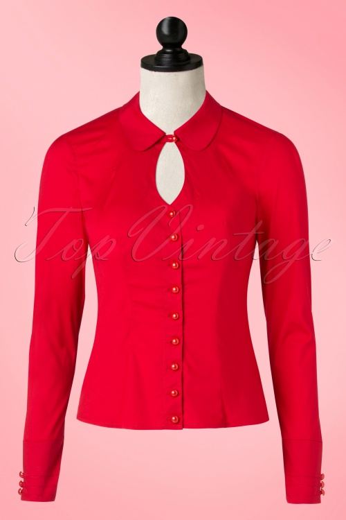 40s Sylvia Keyhole Blouse in Red