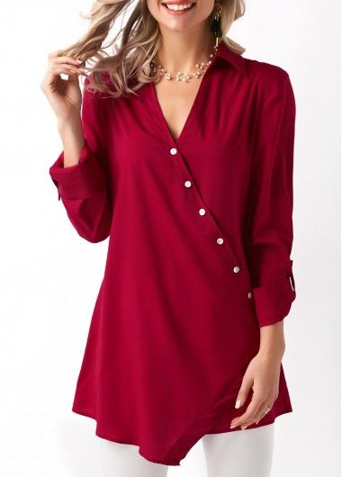 Asymmetric Hem Slant Button Wine Red Blouse in 2019 | FASHION