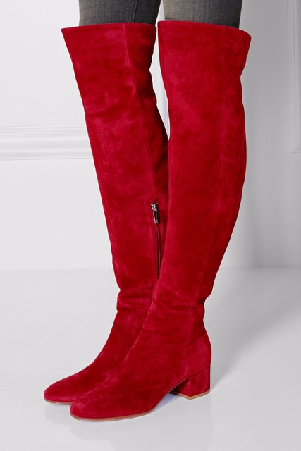 Women Winter Flat Boots Red Suede Over The Knee Boots Round Toe