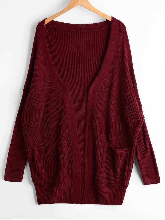 38% OFF] 2019 Open Front Chunky Cardigan With Pockets In WINE RED
